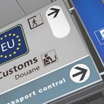 Airport customs sign for the EU.