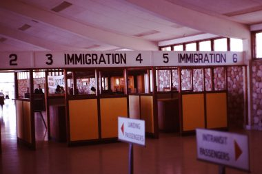 Immigration counters at the airport.